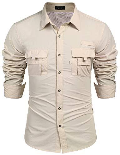 COOFANDY Mens Outdoor Recreation Long Sleeve Hiking Camping Button Down Shirts Khaki