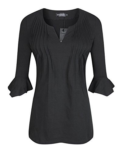 Meyison Women's 3/4 Flutter Sleeve V Neck Pleated Details Jersey Tunic Tops (XX-Large, Black) (Pleated Flutter Sleeve Tops)