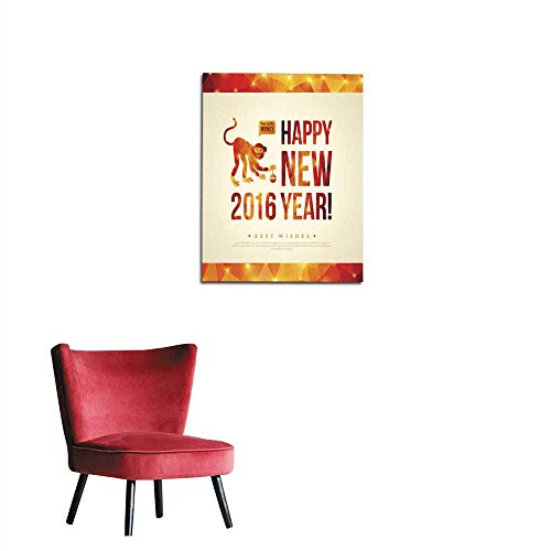 (longbuyer Photographic Wallpaper Happy Chinese New Year Greeting Card Year of Monkey Mural)