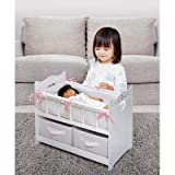 Badger Basket White Rose Doll Crib with Two Baskets (fits American Girl Dolls)