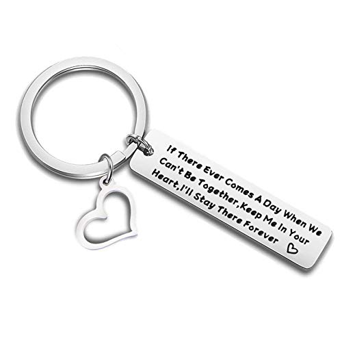 QIIER Long Distance Relationship Gift Leaving Keychain Boyfriend Gift Going Away Gift BFF If There Ever Comes A Always When We Can't Be Together