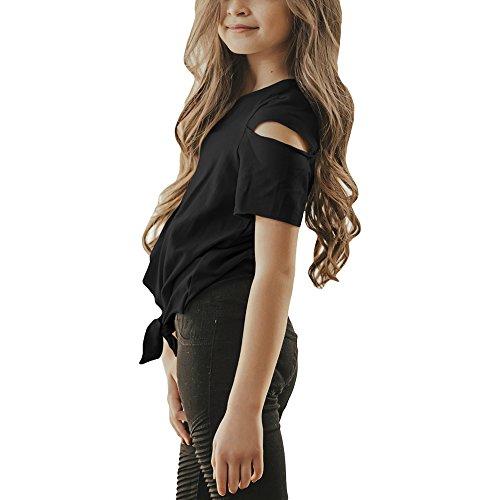 Tie Front Cutout Tops Casual Girls Cold Black T Shoulder Blouses Shirt Sleeve Lrud Short Summer ntTz8qwtxF