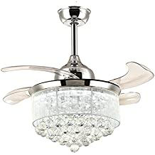 NOXARTE 36 Inch Promote Natural Ventilation Chrome Fandelier Crystal Invisible Fan LED Dimmable (Warm/Daylight/Cool White) Chandelier Ceiling Fan With Lights Retractable Fan with Remote