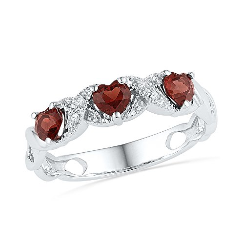 Garnet White Gold Wedding Bands - Size - 10 - Solid 925 Sterling Silver Heart Round Red Simulated Garnet And White Diamond Prong Set Curved Wedding Band OR Fashion Ring (.02 cttw)