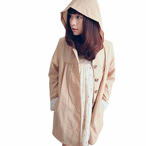 La Mode Adulte Conjoined tape Voyage Extrieure Impermable Raincoat Femme Code Kaki Cape De Pluie M