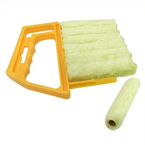 Mhoyi finestra veneziana Cleaner Brush, cleaner, rimovibile e lavabile Catturapolvere in microfibra, panno di pulizia strumenti per finestra persiane condizionatore d' aria (giallo)