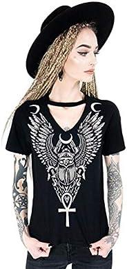 Punk Styles Clothing Women Plus Size Gothic Fashion Summer Short Sleeve V-Neck Black Tops T-Shirts