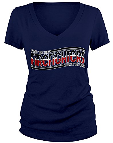 Junior Firefighter Badge (Amdesco Junior's Firefighters, Find 'em Hot, Leave 'em Wet V-Neck T-Shirt, Navy Blue XL)