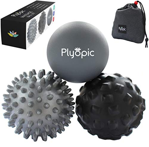 Plyopic Massage Ball Set - for Deep Tissue Muscle Recovery, Myofascial Release, Trigger Point Therapy, Crossfit Mobility and Plantar Fasciitis Relief