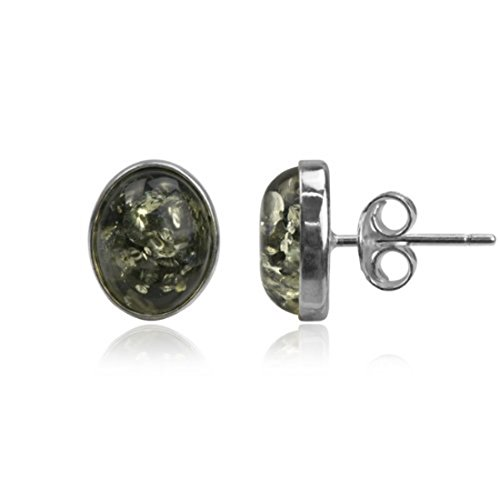 Black Green Amber Sterling Silver Classic Oval Earrings ()