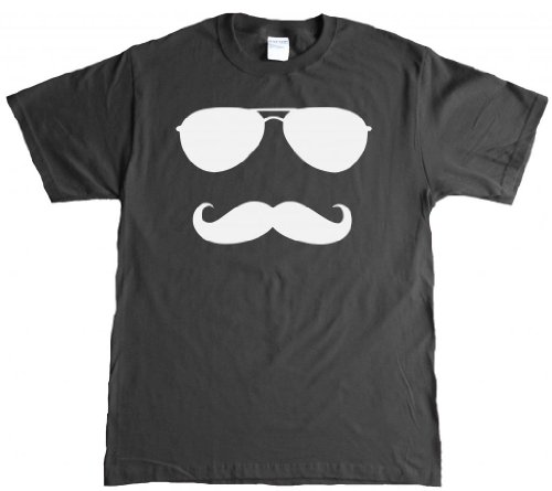 Aviator Mustache And Glasses Funny Adult T-shirt - - Glasses Avaiator
