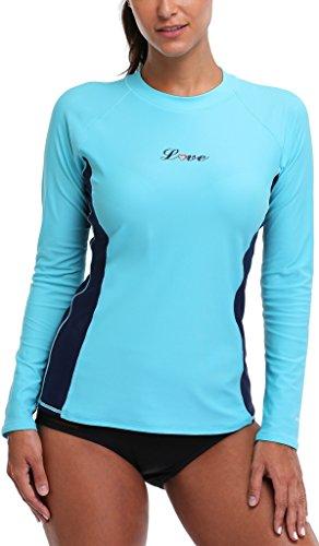 maglietta Alove 50 maniche protezione Turchese con a UV Rashguard da nbsp; UV lunghe Bades donna ZwBnwUACx