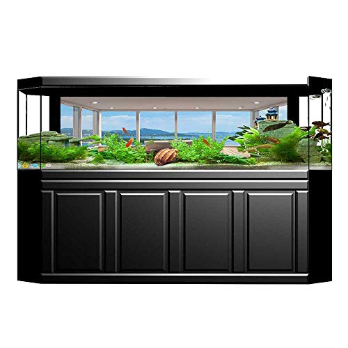 UHOO2018 Fish Tank Background Minimalist Design Bathtub with Relaxing Scenery of Islands White Light Brown and Blue PVC Aquarium Decorative Paper ()