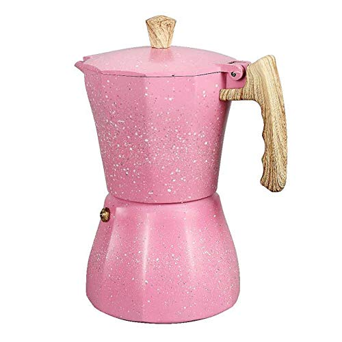 SNOWINSPRING la Cafetera Latte Mocha Cafetera Espresso Moka Italiana Cafetera Olla Cafetera de Estufa 300Ml Rosa