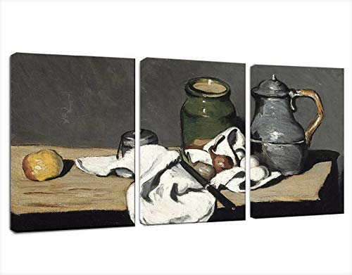 Canvas Wall Art - Still Life with Kettle by Paul Cezanne -Famous Painting Reproduction on Canvas Print Framed Ready to Hang