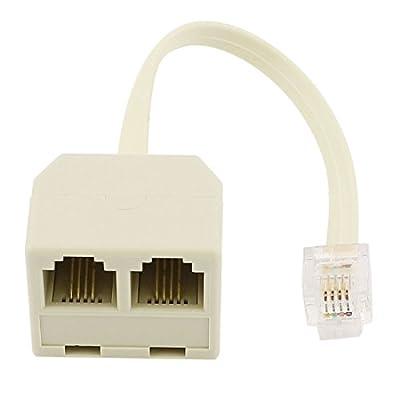 RJ11 6P4C Male Plug to 2 Ports 6P4C Female Socket Phone Line Splitter