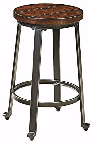 Ashley Furniture Signature Design - Challiman Bar Stool - Counter Height - Set of 2 - Rustic Brown (Brown Wood Counter)