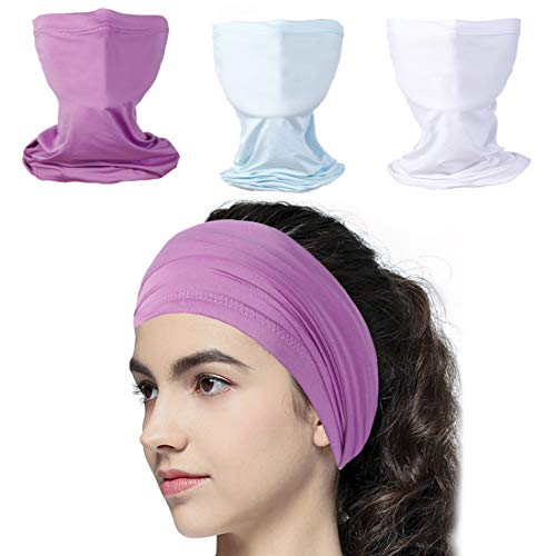 3 Pack Multifunctional Face Cover UV Protection Neck Gaiter Face Scarf Face Mask Breathable Scarf