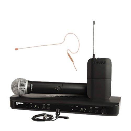 Shure Blx1288/CVL/630 Dual Channel Handheld and Lavalier Wireless System Combo with Mini (Dual Channel Handheld)