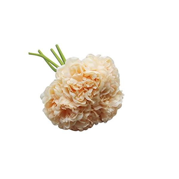 Artificial Peony Hydrangea 5 Heads Artificial Fake Flowers for Bridal Bouquet DIY Home Decor Artificial Wedding Decor Silk Flower Arrangement (Peach)