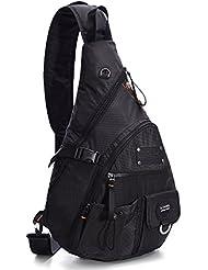 """LINSHI TASKS 15"""" Tactical Sling Backpack Book Bag for Men Women Black"""