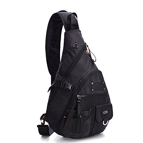 LINSHI TASKS 15 Inch Tactical Sling Backpack Book Bag for Men Women (Black Nylon Sling)