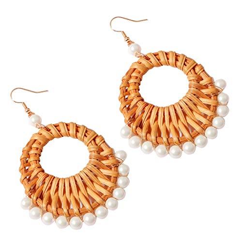 Twinsmall Rattan Earrings for Women Handmade Straw Wicker Braid Drop Dangle Earrings Statement Earrings Jewelry with Pearl (White)