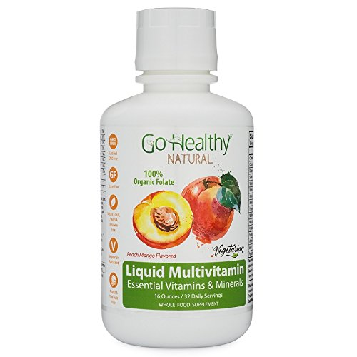 Go Healthy Natural Liquid Multivitamin with Organic Folate, Vegetarian Fruit & Plant-Based Whole Food 32 Servings, Benzoate Free, Non-GMO, Gluten Free (Liquid Multivitamins)