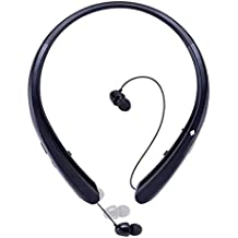 Sport Bluetooth Headphones,LISN Wireless Neckband Headset with Retractable Earbuds,Stereo Sweatproof Noise Cancelling in Ear Earphones 7-8 Hrs Playtime with Mic (Black)