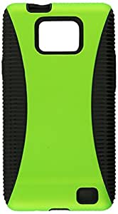 Eagle Cell PHSAMI777BKGR Hybrid Protective Gummy TPU Case for Samsung Galaxy S2 i777 - Retail Packaging - Black/Green