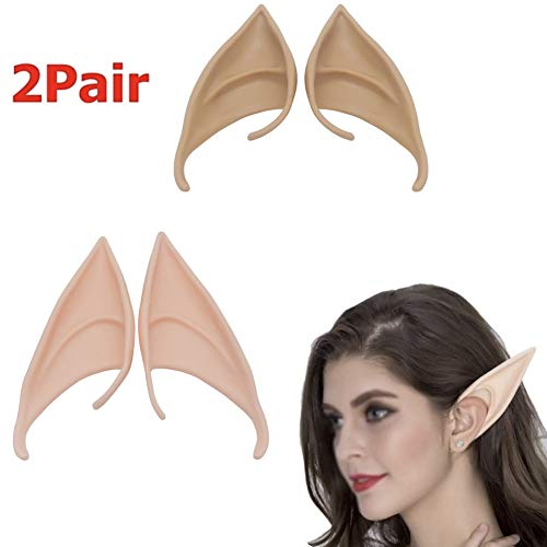 Anime Witch Dress Up (CheeseandU 2Pairs Elf Ears Soft Pointed Medium and Long Fairy Pixie Style Prosthetic Tips Anime Ears Elven Vampire Fairy Ears Party Halloween Dress Up Costume Masquerade)