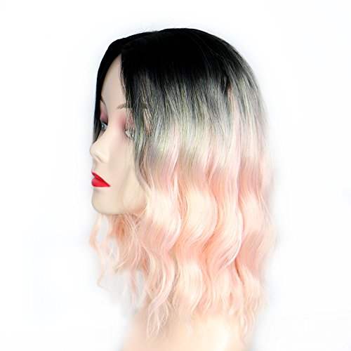 CHIMERA Short Curly Wig Cosplay Hair Wigs Front Lace with Dark Roots to Pink Ombre Side Parting Full Wig for Women and Girls 12''
