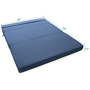 Milliard Tri-Fold Foam Folding Mattress and Sofa Bed for Guests - Queen 78x58x4 Inches