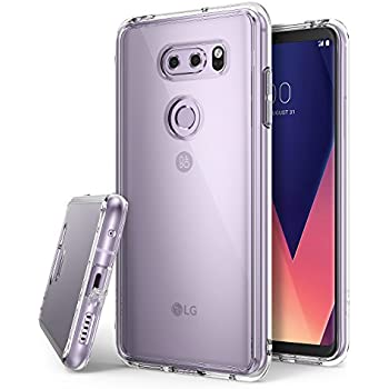 LG V30 Phone Case Ringke [FUSION] Crystal Clear Minimalist Transparent PC Back TPU Bumper [Drop Protection] Raised Bezels Scratch Resistant Natural Shape Shock-Absorbent Protective Cover - Clear