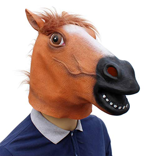 Halloween Latex Animal Head Horse Full Face Mask for Make Up Party -