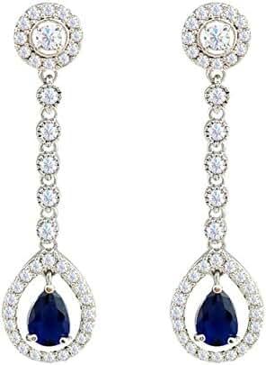 SELOVO Womens Girls Navy Blue Cubic Zirconia Stones Teardrop Dangly Earrings Silver Tone