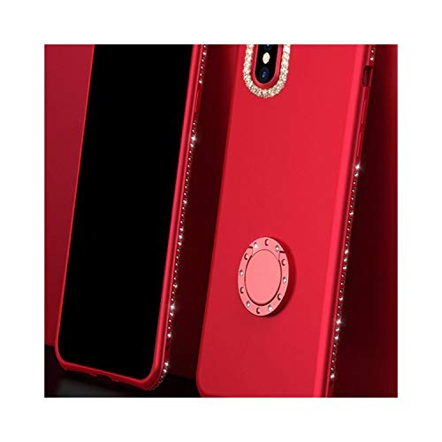 Luxury Bling Diamond Magnetic Finger Ring Kickstand Case for iPhone X 8 7 6 Plus Samsung Galaxy S9 S8 Plus Note 8 Soft TPU Cover,Style 3 Red,for iPhone 8