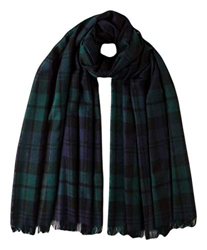 (Johnstons of Elgin Unisex Black Watch Extra Fine Merino Wool Lightweight Tartan Scarf - Black/Navy/Green)