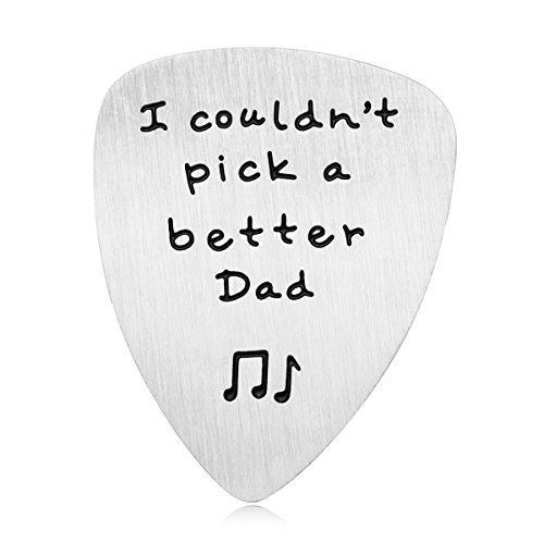 Dad Gift for Father's Day - I Couldn't Pick a Better Dad Guitar Pick, Stainless Steel Inspirational Dad Gifts from Daughter Son, Christmas Birthday Gifts for Dad (#1 Could't Pick A Better Dad)
