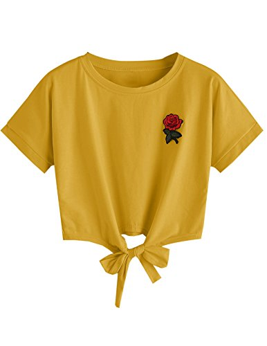 - SweatyRocks Women's Loose Short Sleeve Summer Crop T-shirt Tops Blouse Khaki Medium
