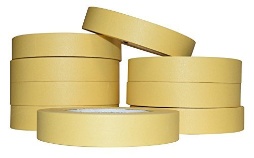 JAK Industrial Case of 48-1 Inch Multi-Purpose Masking Tape - Yellow - 60 yards per roll