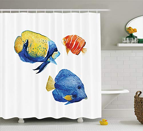 Ambesonne Fish Shower Curtain, Tropical Aquarium Life Discus Fish and Goldfish in Different Patterns, Cloth Fabric Bathroom Decor Set with Hooks, 70