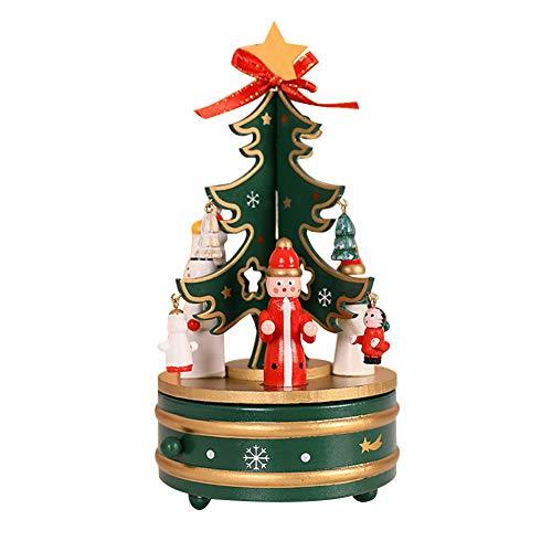 Santa Music Box Claus (WAQIA Oh Christmas Music Box, Wooden Music Box Crafts Revolving Christmas Tree with Snowman Santa Claus Elk Dolls DIY Music Box for Kids, Children, Girls, Boy Adult (Green))