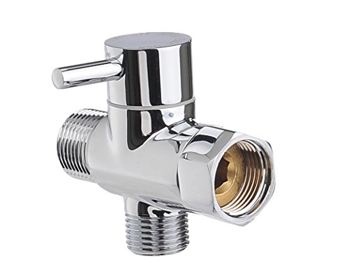 Zen Bidet Nickel Chrome T Connector with Shut-off Valve 3 Way Tee Connector Water Pressure Control for Toilet Bidet Attachment, Handheld Shattaf Sprayer and Cloth Diaper Washer