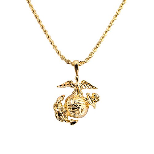 Mister Value Men's Yellow Gold Plated USMC Marine Corp Corps Pendant Necklace, 20