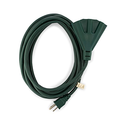 Holiday Lighting Outlet 15 ft. 16/3 SJTW Indoor Outdoor Extension Cord, Green, 3 Outlets, 3 Prong - UL Listed - Green Indoor Extension Cord
