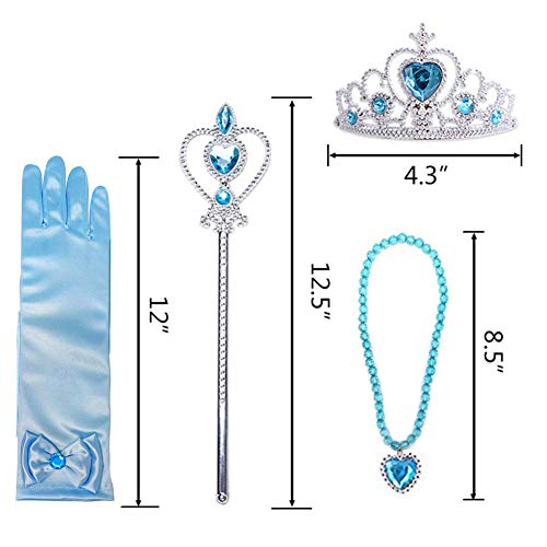 Amor 8Pcs Princess Dress Up Party Accessories with Crown Wand Gloves Necklace Earrings & Ring