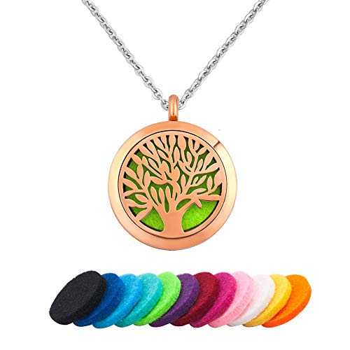 Moonlight Collection Rose Gold Tone Tree of Life Scented Pendant Locket Essential Oil Diffuser Necklace Aromatherapy Jewelry + Refills [Pick Your Color]