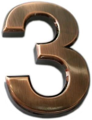 4 2 pulgadas casa do4u 2/paquetes casa buz/ón n/úmero 3d Radian adhesivo puerta n/úmero con reflectante enchapado de oro para puerta se/ñal de direcci/ón buz/ón