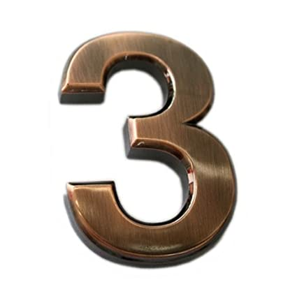 Do4U 2 Packs House Mailbox Number 3D Radian Self-stick Door Number with Reflective Golden Plating, For Door, House, Mailbox, Street Address Sign (2 inch, 3)